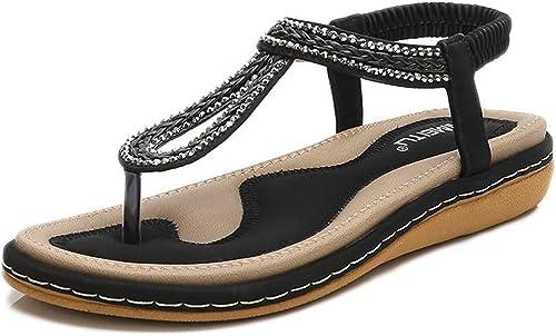 L-X Thong Sandals été Décontracté Marche à Chevrons Chevrons Sangle Cheville Sangle Fond Plat Plage Bohème Tisser des Chaussures de Grande Taille, Noir, 42EU  bien vendre partout dans le monde