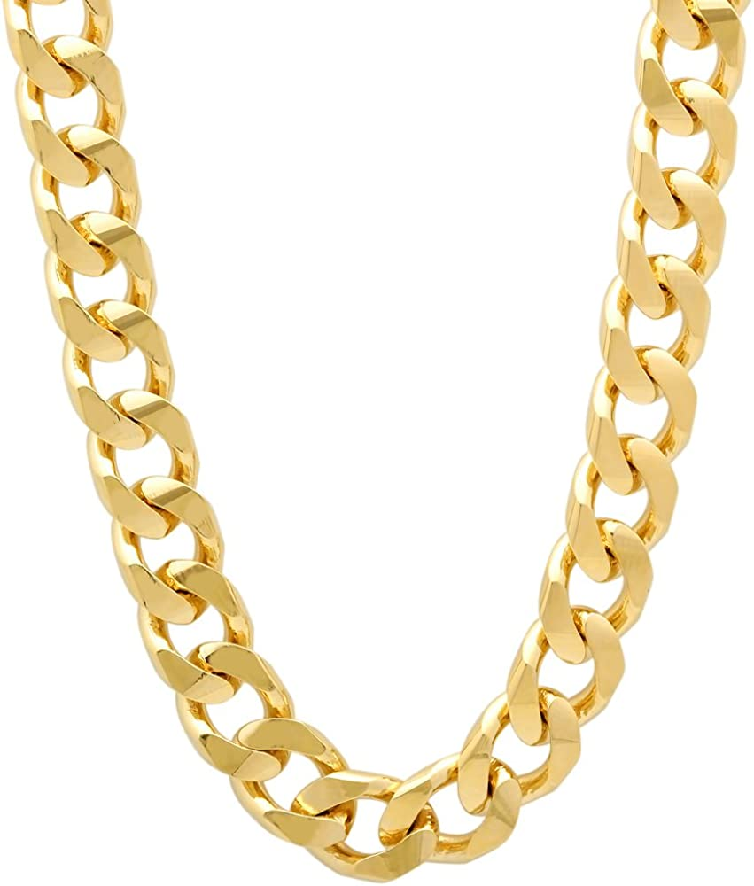 The Bling Factory Oklahoma overseas City Mall 1mm-7mm 14k Yellow Plated Flat Cuban Gold Link