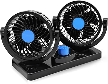 Taotuo 12V Electric Car Fan 360 Degree Rotatable 2 Speed Dual Head Car Auto Cooling Air Circulator Fan for Van SUV RV Boat Auto Vehicles Golf