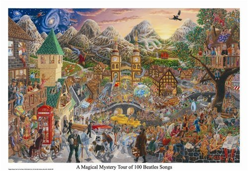 Buyartforless A Magical Mystery Tour of 100 Beatles Songs by Tom Masse 32x22 Music Art Print Poster Rock and Roll Man Cave