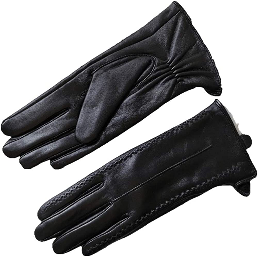 Women's Classic Style Lambskin Cold Weather Leather Gloves Full Pam Touchscreen Fleece/Nylon Lined