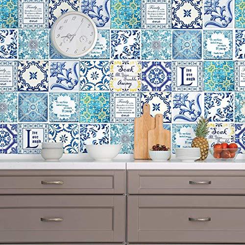 Walplus Adhesivos de pared extraíble Autoadhesivo Arte Mural VINILO DECORACIÓN HOGAR BRICOLAJE Estar Cocina Dormitorio Decor papel pintado regalo Inglés frase Vintage Azul Azulejo Pegatina - 15 cm x