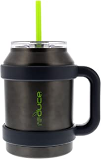 Reduce Cold-1 50oz Insulated Tumbler with Straw, Lid and Handle - Large Capacity, 36 Hours Cold, Sweat-Proof Body - This Stainless Steel Tumbler is Perfect for Cold and Hot Drinks - Gray and Lime