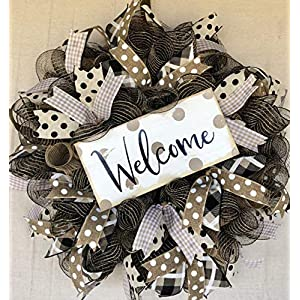 Rustic Farmhouse Welcome Wreath Everyday Wreath Decor Welcome Door Hanger Farmhouse Decor Burlap Bowtique