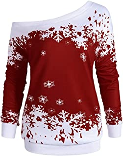 Merry Christmas Shirts for Women Off The Shoulder Snowflake Print Fall Long Sleeve 3XL Funny Pullover Blouses Tops