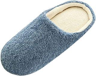 Qootent Men Warm Home Slippers Indoor Winter Floor Bedroom Plush Soft Slippers