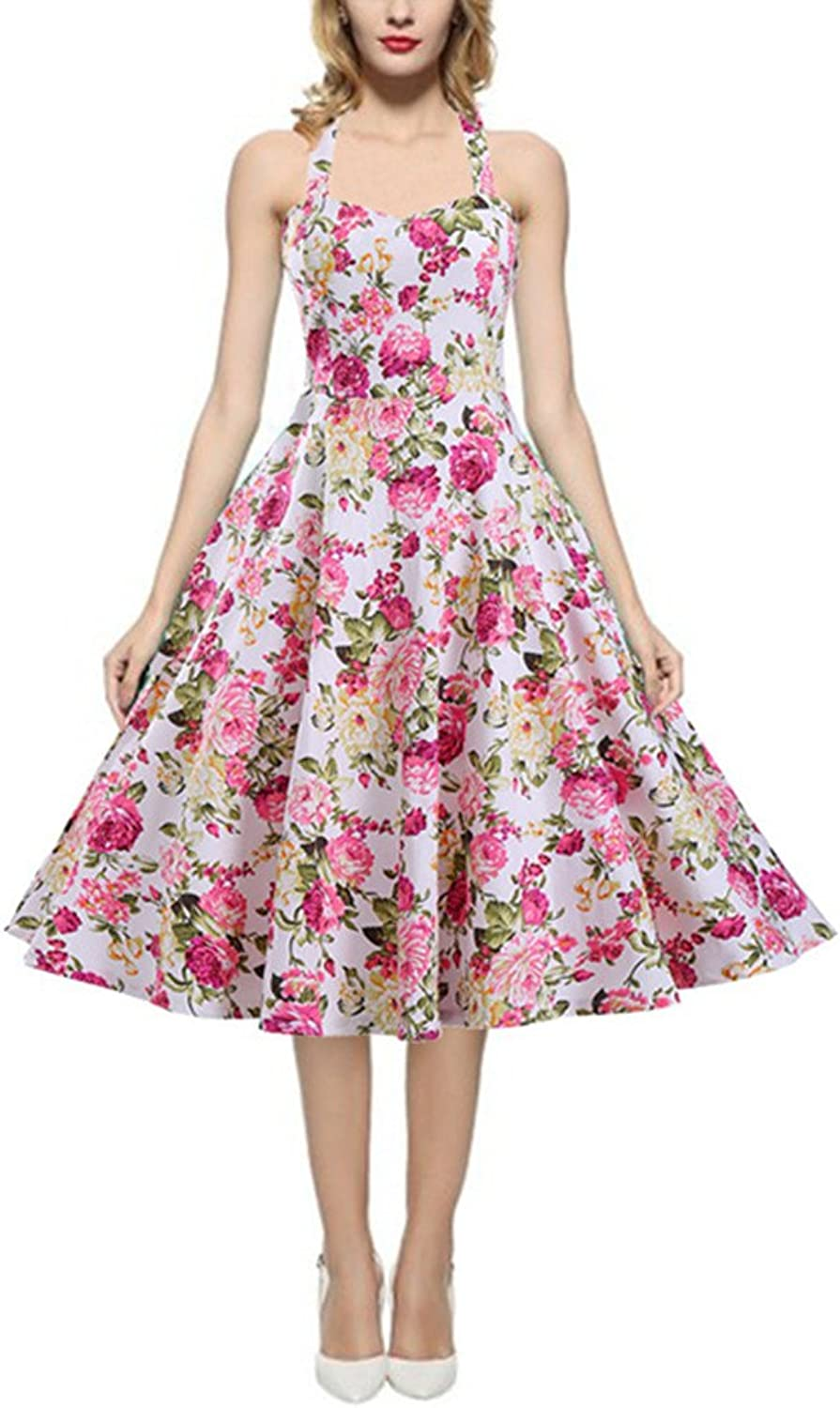 Women's 1950s Floral Print Vintage Tea Rockabilly Party Dress