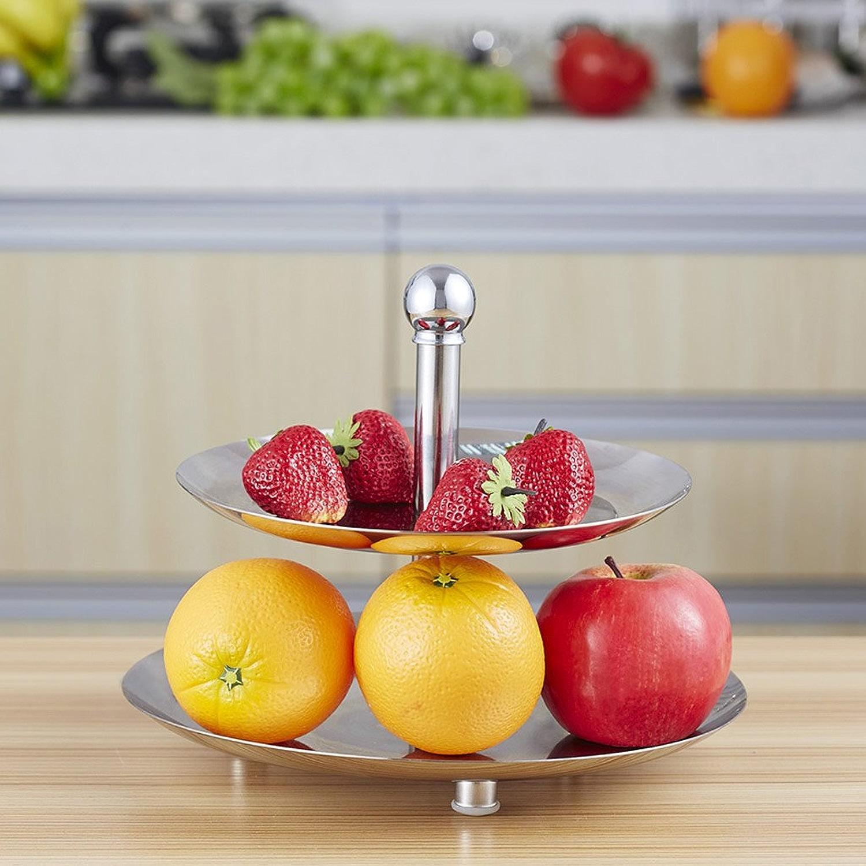 KUN PENG SHOP Plaque de fruits en acier inoxydable créative double salon plaque de fruits assiette de plats buffet KTV trois A+ (taille   Double layer)