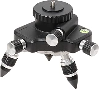 Huepar Laser Level Adapter, Metal 360-Degree Rotating Base for Laser Level Tripod Connector, 1/4'' Threaded Mount and Horizontal Bubble, Micro-adjust Fine Turning Pivoting Base AT2