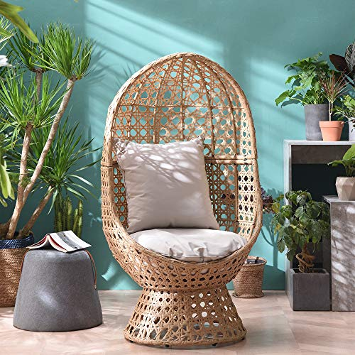 Cherry Tree Furniture Nerida Rattan Effect Cocoon Swivel Chair, Garden Egg Chair