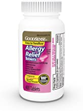 GoodSense Allergy Relief Tablets, Diphenhydramine HCl 25 mg, Antihistamine, 400Count Allergy Pills
