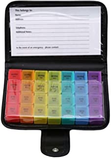 Pill Box,Wekelijkse pillendoosje,Opbergdoos Pillen,28 Raster Voorkom Vocht Draagbare Met Koffer Zwart Mini Reisge for Vita...