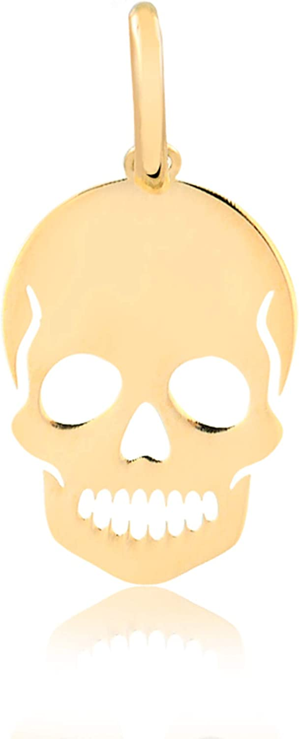 Carol Jewelry 14k Solid Yellow Gold Skull Shaped Pendant for Necklace for Men, Boys, Women, and Girls