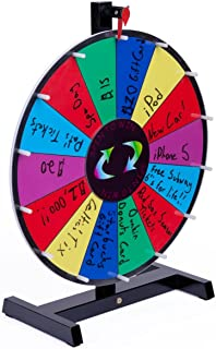 """Displays2go Promotional Prize Wheel for Tabletop Use with 14 Prize Slots, 18"""" Write-on Surface for Wet and Dry-Erase Markers, Black Wooden Base, Carrying Bag Included"""