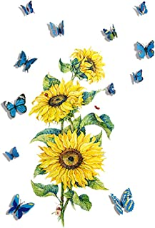 Topflier Sunflower Wall Stickers with 3D Butterfly Wall...