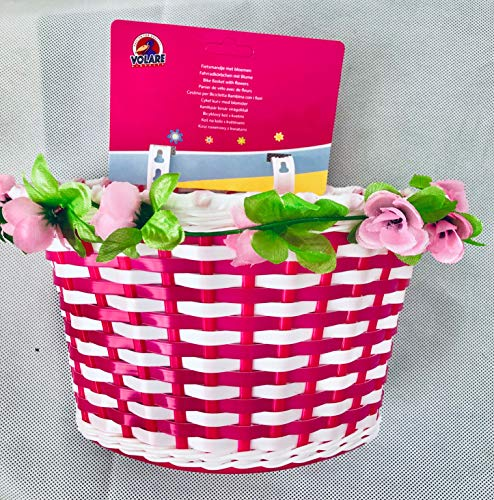 Unbekannt Kinder Fahrradkorb Fahrradtasche Lenkertasche Fahrrad Geflochten Blumen Korb Volare