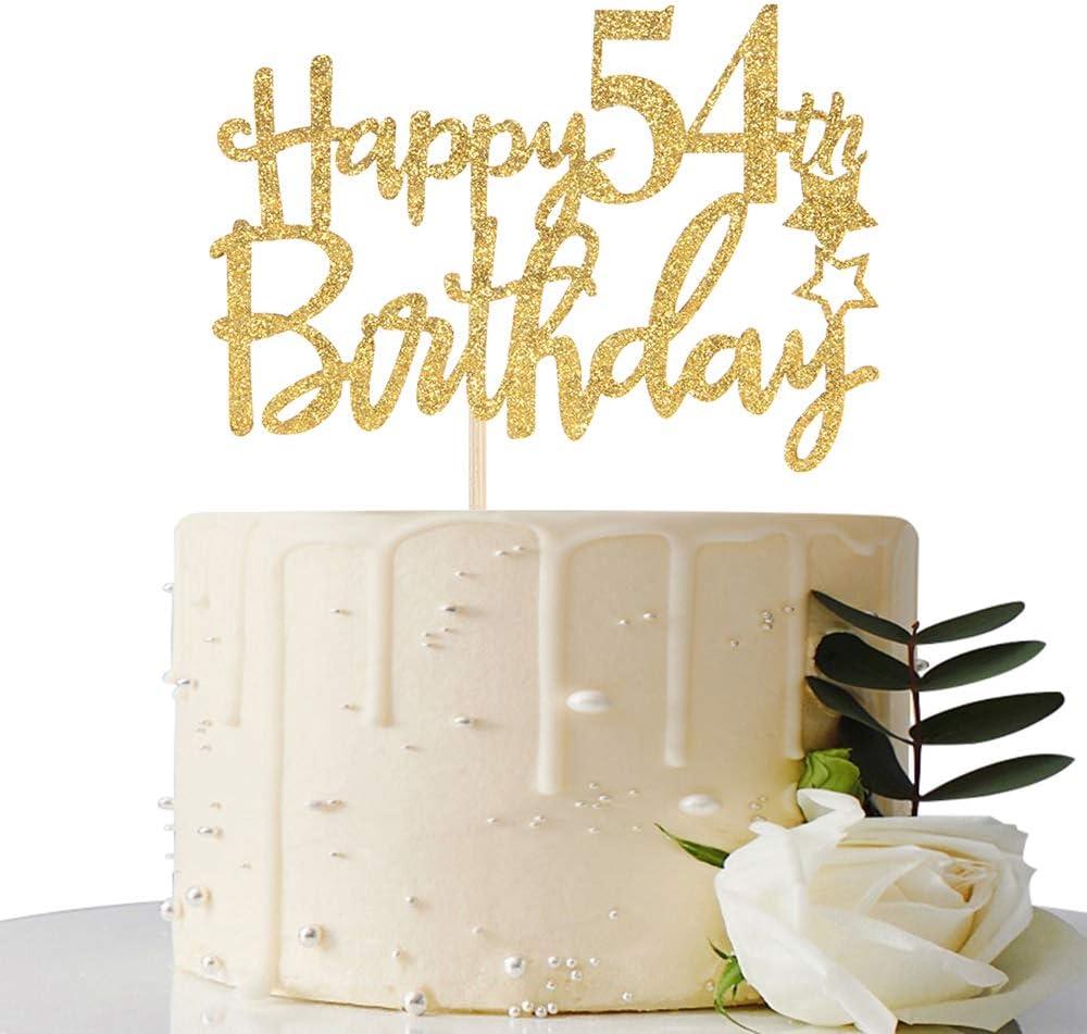 Gold San Antonio Mall Glitter Happy 54th Birthday trust Cake - 54 Topper
