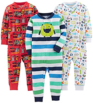 Simple Joys by Carter's Baby Boys' 3-Pack Snug Fit Footless Cotton Pajamas, Monster/Construction/White, 12 Months
