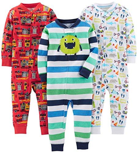 Simple Joys by Carter's - Pijama entero - para bebé niño multicolor Monster/Construction/White 12 Months