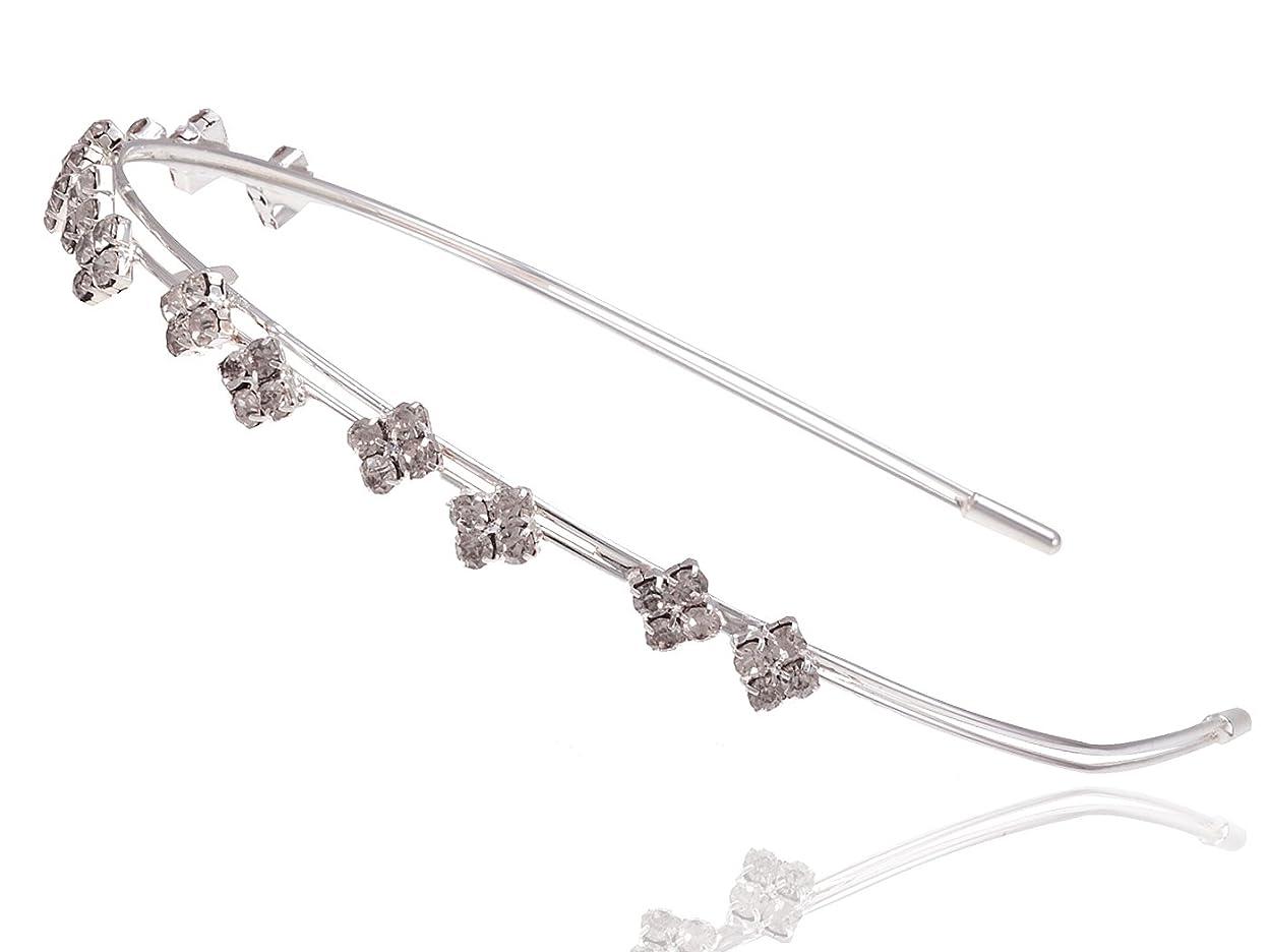 レッドデートコンピューター覗くAlilang プリンセススタイル シンプル シルバートーン ダイヤモンドのようなラインストーン ヘアピースヘッドバンド