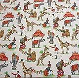 Stoff Meterware Baumwolle Zirkus Elefant Nostalgie Giraffe