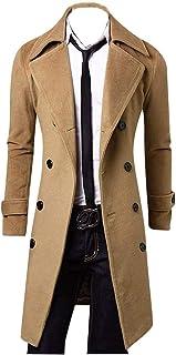 Cappotto Lungo da Uomo Cappotto Invernale Giacca da College Abbigliamento Giacca Vintage Doppio Parka Manica Lunga Risvolt...