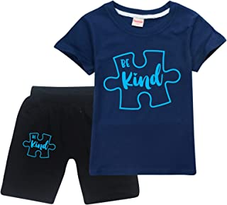 Auti-Sm Aware-Ness Toddler Short Sleeve T-Shirt and Shorts 2 Pieces Set Boys and Girls Summer Tracksuit
