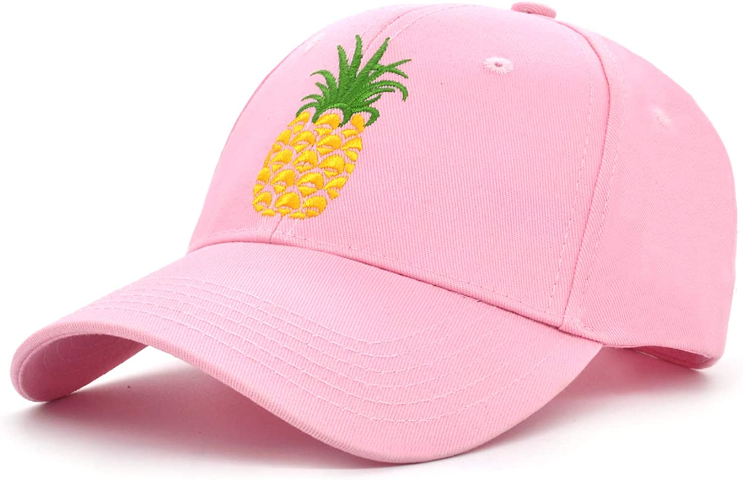 Pineapple Embroidered Baseball Cap Low Profile Cute Sun Hat Snapback Adjustable 100% Cotton Outdoor Sports Cap