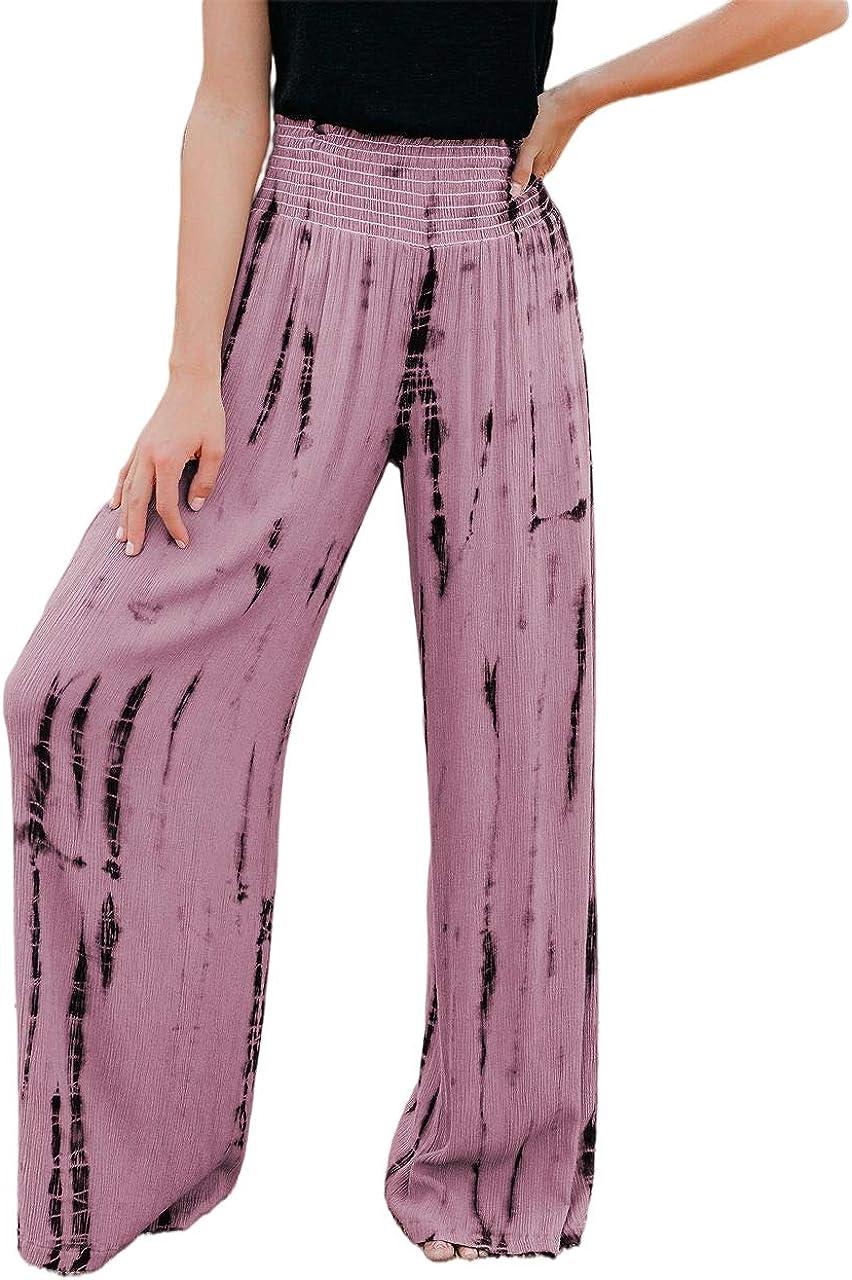 BZB Women Smocked High Waist Tie Dye Boho Pants Casual Print Wide Leg Pants