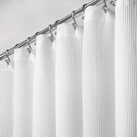 """mDesign Premium 100% Cotton Waffle Weave Fabric Shower Curtain, Hotel Quality - for Bathroom Showers and Bathtubs, Super Soft, Easy Care - 72"""" x 72"""" - White"""