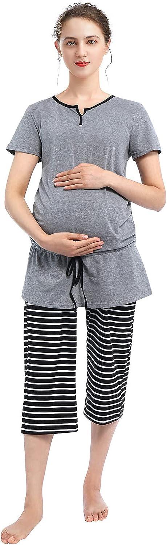 Womens Maternity Ranking TOP19 Pajamas Nightshirt Casual Pants Sleepshirt Set outlet