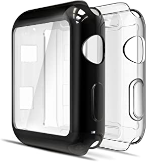Simpeak 2 Packs Screen Protector Cover Case Compatible for Apple Watch 38mm, All Around Soft TPU Clear Touch Screen Protector Bumper Cover Case for 38mm Apple Watch Series 2,Series 3, Clear + Plated Black