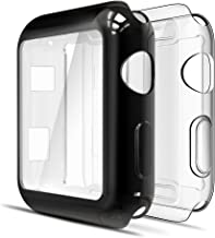 [2 Packs] Simpeak Screen Protector Cover Case for Apple Watch 42mm, All Around Soft TPU Clear Touch Screen Protector Bumper Cover Case for 42mm Apple Watch Series 2,Series 3, Clear + Plated Black