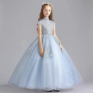 Luxury Children Princess Dress Girls Gauze Skirt Dress Princess Dress Birthday Dress with High Collar and Long Sections Small Host Western Style Dress Elegant Piano Performance Clothing ryq