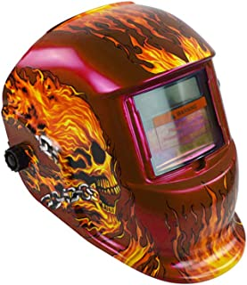 Welding Mask, Solar & Battery Powered Auto Darkening Hood Helmet - Large View Adjustable Shade Range Welder Mask Shield for Electric/Argon Arc/Tin Welding(Red Skull)
