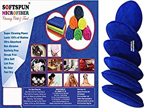 SOFTSPUN Microfiber Reusable Round Polishing Pad, 6 pieces set, (Blue) Multipurpose. Ultra-soft Applicator Pads with Finger Band Perfect cleaning for car, bike, window, and more.