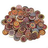 100 botones de madera de 25 mm de forma redonda, botones mixtos, botones de flores, botones de costura hechos a mano con botones de amor para coser, manualidades, decoración, bricolaje, vestidos, etc.