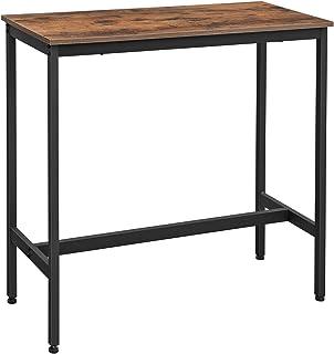 VASAGLE Table de Bar, Table Haute Fine, Table de Cuisine, Table de Salle à Manger, avec Cadre métallique Robuste, 100 x 40...