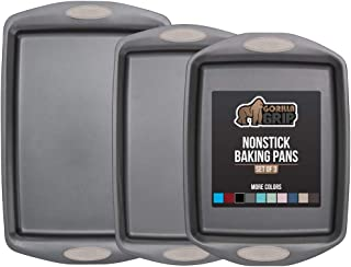 Gorilla Grip Original Non Stick Baking Pans, 3 Piece Bakeware Set, Durable Silicone Handles, Multi Purpose Professional Gr...