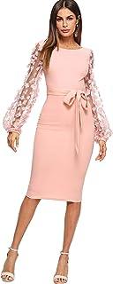 c5ce9beed7 SheIn Women's Elegant Mesh Contrast Bishop Sleeve Bodycon Pencil Dress