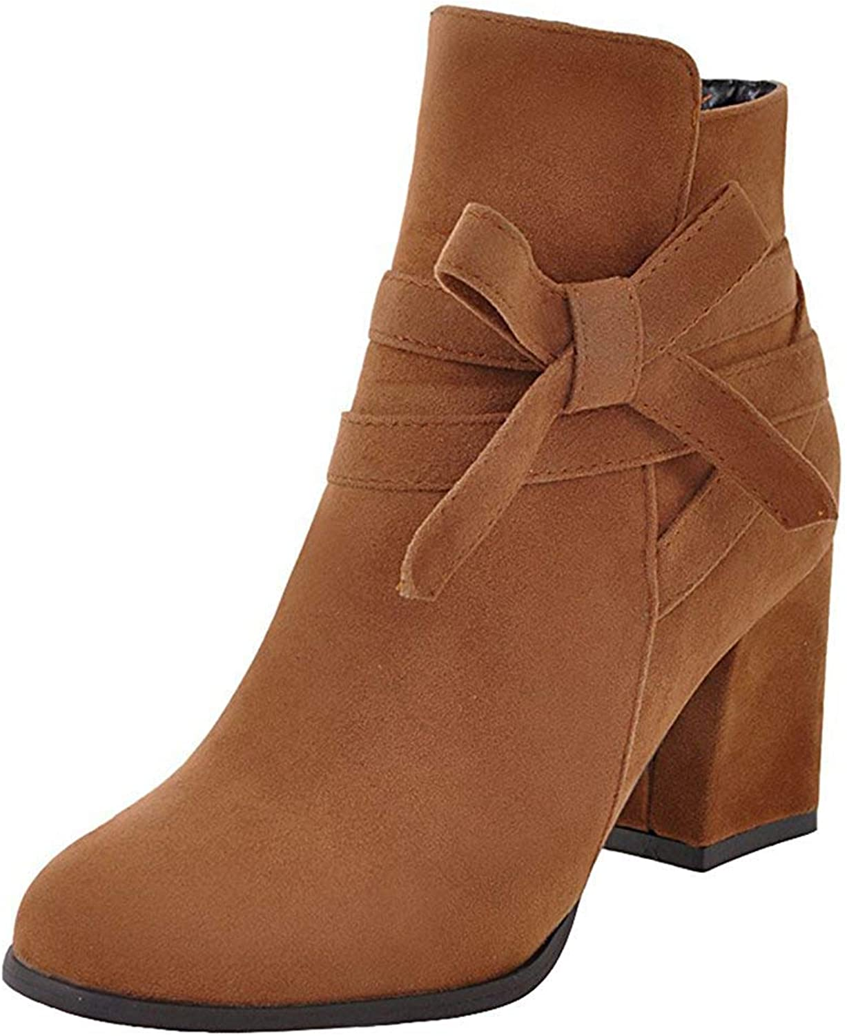 Gcanwea Women's Sweet Faux Suede Bowknot Strap Side Zipper Ankle Booties Round Toe Chunky High Heel Short Boots No Grinding Feet Dress Skinny Pure color Rubber Sole Beige 5.5 M US Short Boots