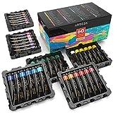 Arteza Tubos de pinturas acrílicas para el arte | Juego de 60 colores numerados | 60 tubos de 22 ml | Pintura acrílica de alta calidad para lienzos