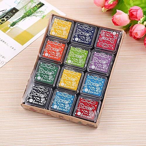 Yongbest Tamponi per Timbri,12 Colori Tamponi di Inchiostro Finger Ink Pad Bambini per Tessuto Artigianale di Carta,Scrapbook,Matrimonio su Tela,Creazione di Carte