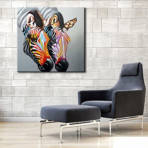 IPLST@ Pittura moderna della decorazione della casa di arte della parete Foto animali Zebra ad olio su tela -24x24inch (Nessuna cornice, senza barella)