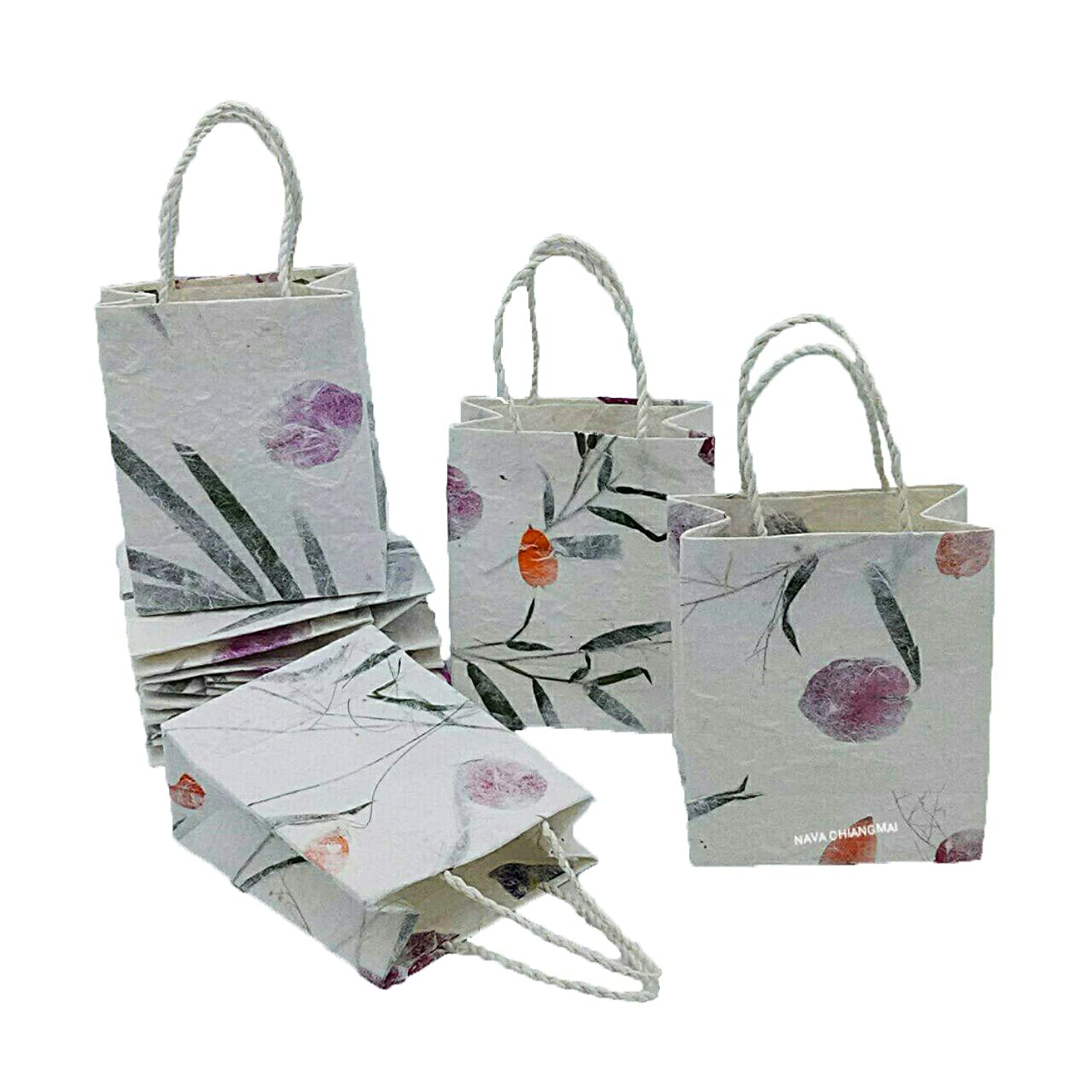 NAVA CHIANGMAI Natural Color Reusable Mulberry Paper Pulp with Dried Flower Petals Kraft Small Gift Bags with Handles Size 4 x 2 x 5 Inch Pack of 10