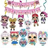 smileh LOL Surprise Muñeca Cumpleaños Decoracion LOL Globos Pancarta de Feliz Cumpleaños Remolinos Colgantes para Niñas Decoraciones de Fiesta