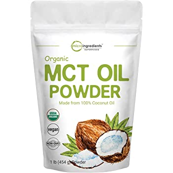 Micro Ingredients Organic MCT Oil Powder, 1 Pound (16 Ounce), MCT Oil for Coffee Creamer, Delicious for Tea, Smoothie, Drink and Beverage, No GMOs, Keto Diet and Vegan Friendly