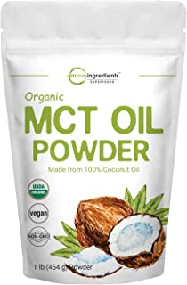 Micro Ingredients Organic MCT Oil Powder, 1 Pound (16 Ounce), C8 MCT Oil for Coffee Creamer, Delicious for Tea, Smoothie, ...