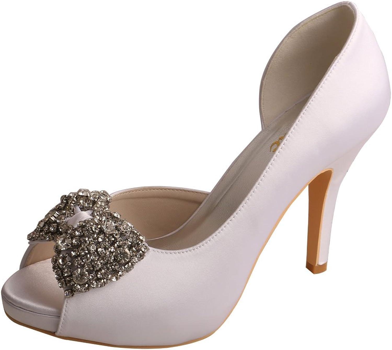 Wedopus MW54X Bows Peep Toe High Heel Platform D'Orsay Satin Bridal Wedding shoes