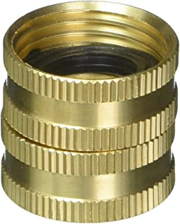 Gilmour Heavy Duty Hose Connector Double Female Swivel Brass 3/4 inch NH x 3/4 inch NH 807734-1001